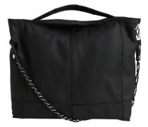 Leder-Schultertasche schwarz