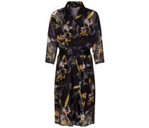 Kleid mit langen Ärmeln Wickeldetail blau / gelb / orange / rosa / schwarz / weiß
