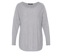 Oversize-Pullover aus Feinstrick grau