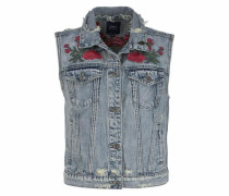 Jeansweste 'flora' blue denim / rot