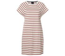 Gestreiftes Kleid mit kurzen Ärmeln weiß