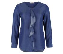 Jeansbluse mit Volant-Blende royalblau