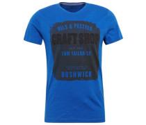 T-Shirt in Melange-Optik mit Print blau