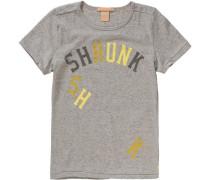T-Shirt für Jungen dunkelbeige / beigemeliert / hellgrau