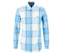 Regular: Button Down-Karohemd hellblau / weiß