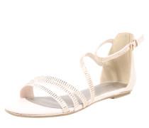 Sandale mit Glitzersteinchen creme