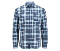 Lässiges Langarmhemd blau / naturweiß