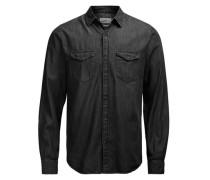 Langarmhemd Jeans- schwarz