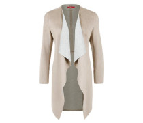 Longjacke in Wildleder-Optik beige