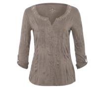 Crinkle-Shirt mit Passe braun