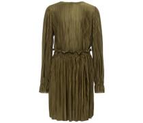 Langärmeliges Plissee Kleid oliv