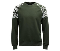 Bedrucktes Sweatshirt grün / weiß