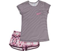 Schlafanzug für Mädchen aubergine / pink / weiß