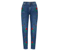 'Janis' Regular Fit Jeans blue denim / grün / rot