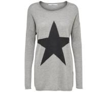 Feinstrickpullover mit Sternenprint graumeliert / schwarz