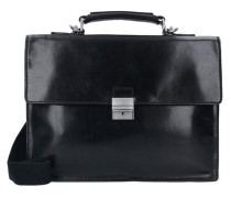 Story Uomo Aktentasche Leder 38 cm Tabletfach schwarz