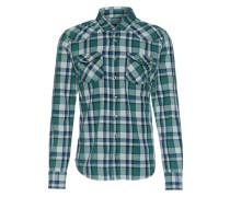 Flanellhemd 'Rohan' grün / weiß
