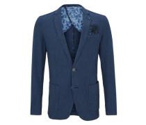 Sakko mit feinem Webmuster blau