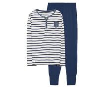 Schlafanzug 'Candy' blau / weiß