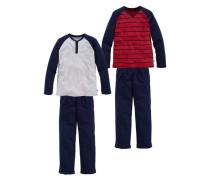 Pyjama kurz (2 Stück) blau / rot / weiß