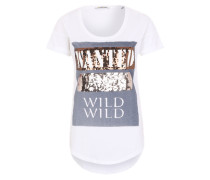 Print-Shirt weiß / braun / grau