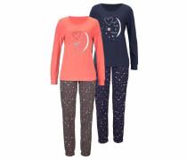 Dreams Pyjama (2 Stück) mit Herzprint blau / koralle