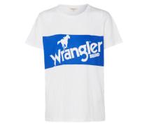 T-Shirt 'retro Logo Tee' blau / weiß
