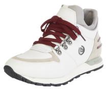 Sneaker mit Bergsteigerösen creme / weinrot / weiß