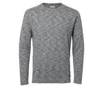 T-Shirt mit langen Ärmeln Split-Neck- grau