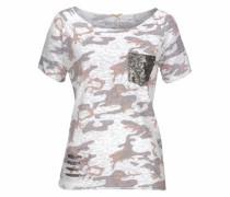 T-Shirt 'Freedom' flieder / rosé / wollweiß