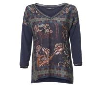 V-Shirt mit Nieten navy / hellgrün / pastellrot