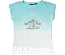 T-Shirt für Mädchen türkis / gold / weiß