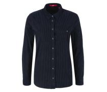 Gepunktete Feincord-Bluse blau