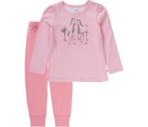 Schlafanzug für Mädchen Pferde grau / rosa