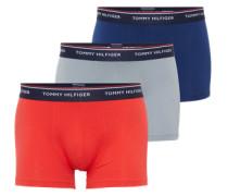 Boxershorts 'Trunk' (3er Pack) dunkelblau / grau / rot