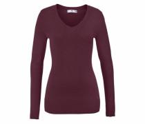 V-Ausschnitt-Pullover weinrot