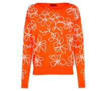 Pullover 'Sowery' orange / weiß
