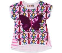 T-Shirt mit Wendepailletten für Mädchen weiß