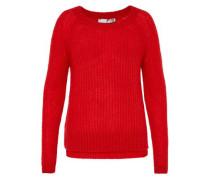 Leicht transparenter Patentstrick-Pullover rot