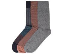 Socken 3er-Pack marine / grau / rostrot
