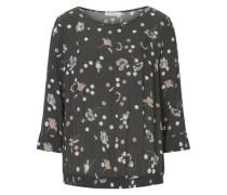 Bluse mit Allover Blumen Print hellbeige / grau / dunkelgrau / weiß