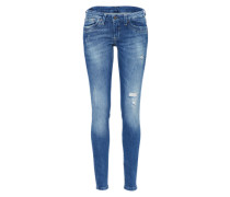 Cropped Denim 'Ripple' blue denim