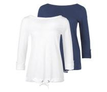2er-Pack sportive Longsleeve blau / weiß