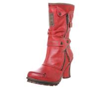 Stiefel mit Raffung und Nieten rot