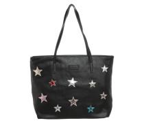 Shopper mit Sternen-Patches schwarz
