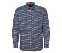 Regular: Hemd mit Druckknöpfen blau
