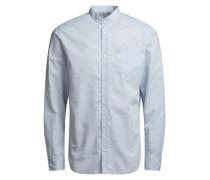 Stehkragen-Langarmhemd blau