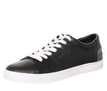 Ledersneaker mit kontrastfarbenen Details schwarz