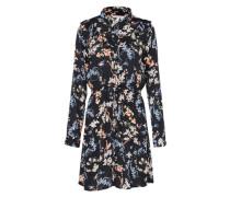 Kleid 'printed ruffle' nachtblau / mischfarben