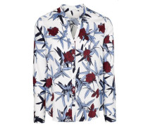 Langarm Bluse Comfort FIT marine / bordeaux / weiß